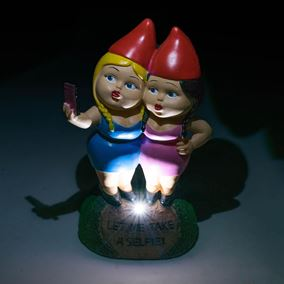 Two Girls Taking a Selfie Trendy Solar Powered Gnome Ornament
