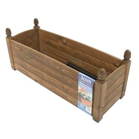 34'' Solid Acorn Trough Chestnut Stain Wooden Garden Planter