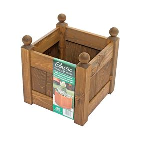 12'' Chestnut Stain Wooden Garden Planter with Heavy Duty Liner