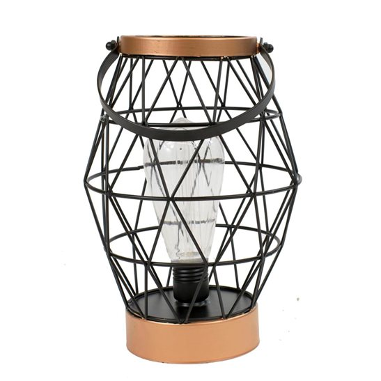 additional image for Geo Metal Table Lantern with Retro Light Bulb