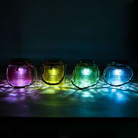 Pack of 4 Large Glass Coloured Jars with Rotating Solar Powered Lights
