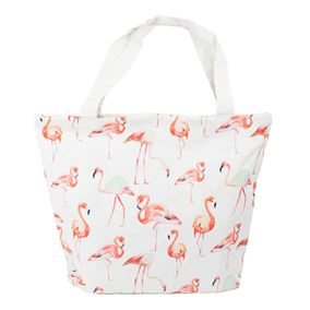 Flamingo Patterned White Beach Bag with Handle