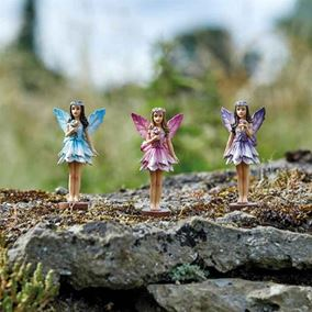 Set of Three Miniature Forest Fairies