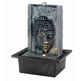 Grey Buddha Face on Wall Indoor Water Feature
