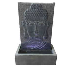 Grey Buddha Wall Water Feature with LED Lights