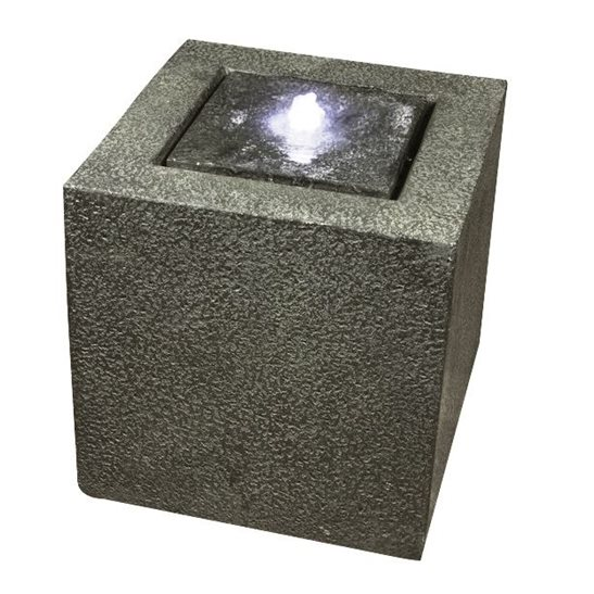 Grey Granite Cube Modern Lit Water Feature
