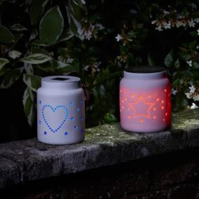 Heart and Star Ceramic Solar Powered Colour Changing Lantern (Twin Pack)