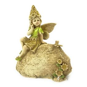 Secret Garden Sitting Fairy On Stone Ornament
