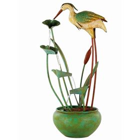 Iron Heron Outdoor Garden Water Feature