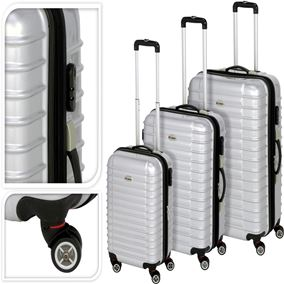 Silver Shiny Luxury Suitcase with Wheels