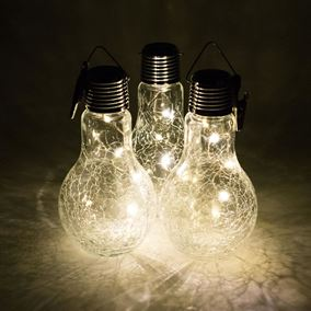 Solar Powered Crackle Glass Hanging Light Bulb (Triple Pack)