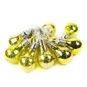 10 Gold Foil Bulb Solar Powered Outdoor String Lights