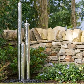 Tidal Large Tubes Stainless Steel Water Feature with LED's