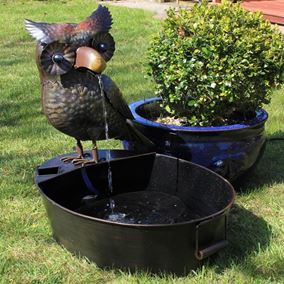 Metal Owl with Bucket Water Feature