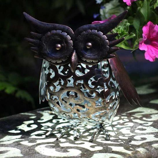 Metal Scroll Owl Solar Light