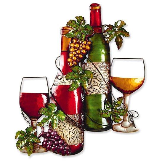 Metal wine bottle wall art for Wall decor wine bottles