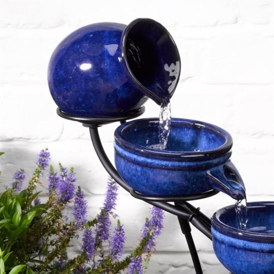 additional image for Neptune Blue Ceramic Solar Cascade Water Feature