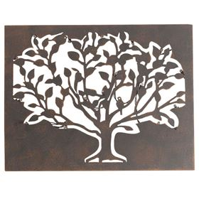Outdoor Lit Tree Metal Wall Silhouette Battery Powered