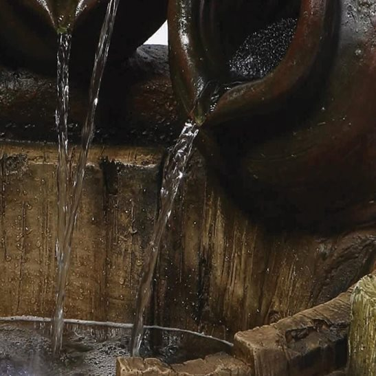 additional image for Pouring Pots on Barrel Lit Water Feature