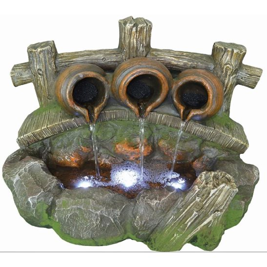 additional image for Pouring Pots on Bridge Lit Water Feature