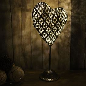 Pre Lit Large Standing Metal Heart Ornament with Warm White LED's