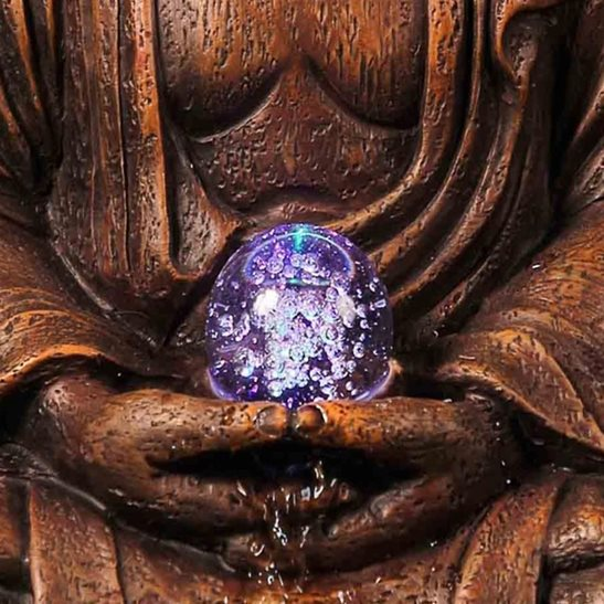 additional image for Red Buddha Spinning Crystal Ball Lit Water Feature