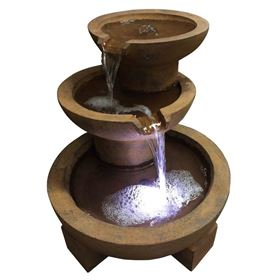 Rusty Pouring Bowls Modern Lit Water Feature