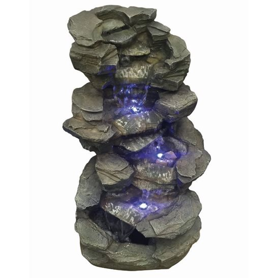 Savannah Slate Falls River Water Feature with LED Lights