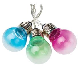 Set of 10 Dual Powered Bulb Garden String Lights with Solar Function