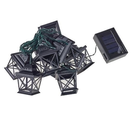 Set of 10 Dual Powered Coach Lantern Garden String Lights with Solar Function