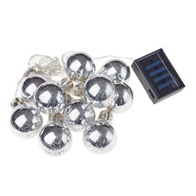 10 Silver Foil Bulb Solar Powered Outdoor String Lights