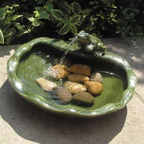Solar Green Glazed Frog Water Feature