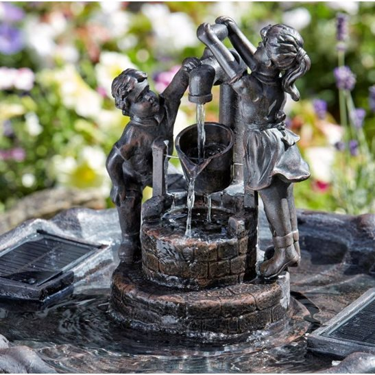 additional image for Solar Powered Children Tipping Pail Garden Water Feature