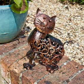 Solar Powered Metal Cat Silhouette Garden Light