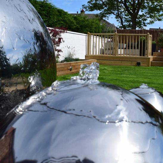 additional image for 40cm Sphere Stainless Steel Water Feature with LED Lights