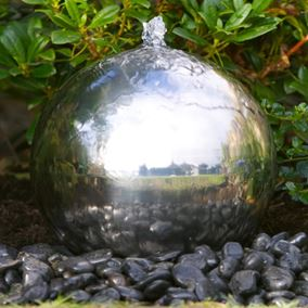 30cm Sphere Stainless Steel Water Feature with LED Lights