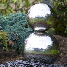 Double Sphere Stainless Steel Water Feature with LED Lights
