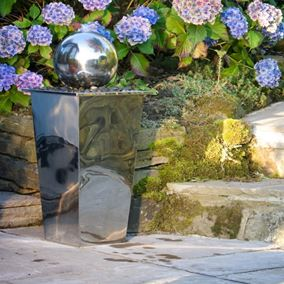 Tapered Column and Sphere Stainless Steel Water Feature with LED's