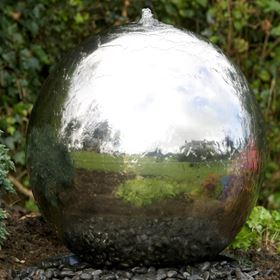 60cm Solar Powered Stainless Steel Sphere Water Feature