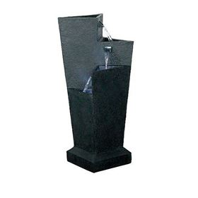 Triangular 3 Fall Black Water Feature with LED Lights