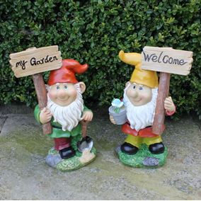 Cute Garden Gnome Holding Message