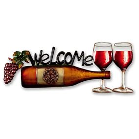 Wine Bottle Wall Art with Welcome Message
