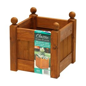 12'' Beech Stain Wooden Garden Planter with Heavy Duty Liner