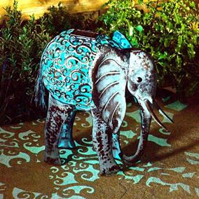 Metal Silhouette Solar Elephant Light