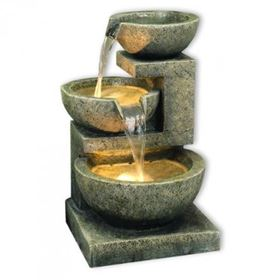 Kyoto Three Bowl Cascade LED Lit Water Feature