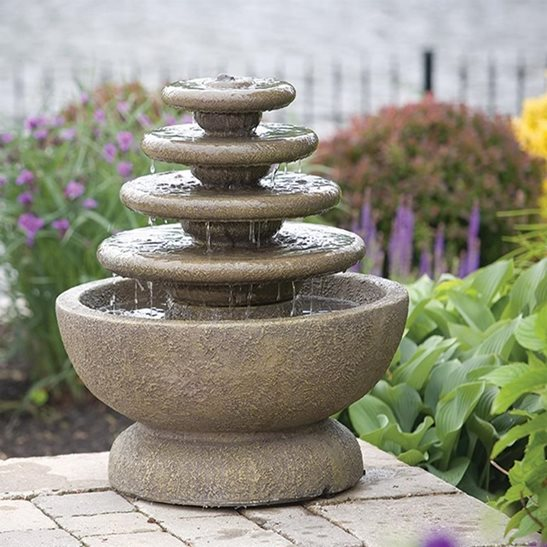 Four Tier Gozo Fountain on Petal Pool Water Feature