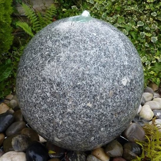 40cm Granite Sphere Drilled Water Feature Kit