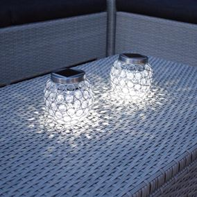 Glass Beaded Solar Powered Table Light (Twin Pack)