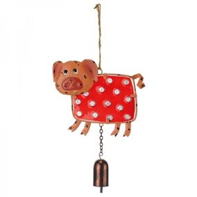 Colourful Hanging Pig Garden Wind Chime With Bell