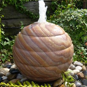 Ribbed Sandstone Drilled Sphere Water Feature Kit